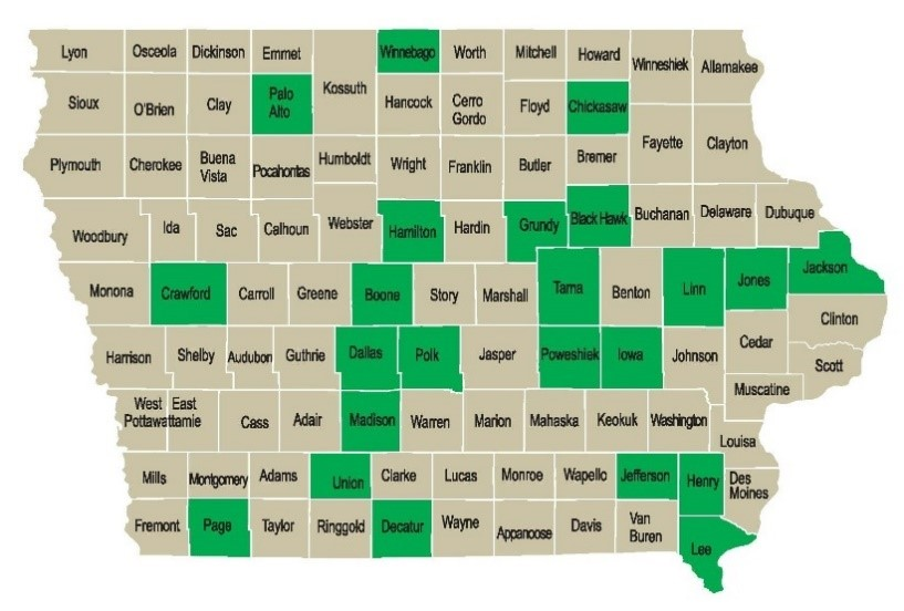 Counties in Iowa with SWITCH schools
